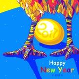 Tupp 2017 hälsningkort för lyckligt nytt år Beröm med tuppen, ställe för din text Arkivfoton