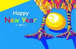 Tupp 2017 hälsningkort för lyckligt nytt år Beröm med tuppen, ställe för din text Arkivbilder