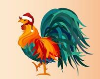 Tupp i ett lock av Santa Claus Jul vektor färgrikt Royaltyfri Bild