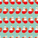Tupphanefågel seamless modell 2017 för symbolkines för lyckligt nytt år kalender Roligt tecken för gullig tecknad film med den st royaltyfri illustrationer