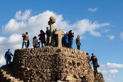 Turó de Les Tres Creus Viewpoint Over Barcelona City Royalty Free Stock Photos