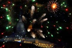 Turín en fuegos artificiales Imagen de archivo