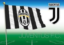 TURÍN, ITALIA, AÑO 2017 - campeonato del fútbol de Serie A, bandera 2017 del equipo de Juventus