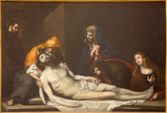 TURÍN, ITALIA - 16 DE MARZO DE 2017: La pintura de la deposición del Pieta cruzado en los di San Massimo de Chiesa de la iglesia Imagen de archivo libre de regalías