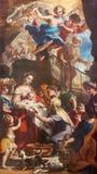 TURÍN, ITALIA - 16 DE MARZO DE 2017: La pintura de la natividad de la Virgen María en los di San Massimo de Chiesa de la iglesia  Imágenes de archivo libres de regalías