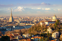 Turín (Torino), paisaje con el topo Antonelliana Imágenes de archivo libres de regalías