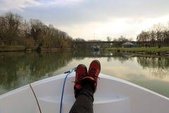 Tur för kanalfartyg i Frankrike Arkivfoton