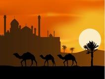 tur för silhouette för bakgrundskamelmoské Stock Illustrationer