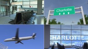 Tur till Charlotte Flygplanet ankommer till den begreppsmässiga montageanimeringen för Förenta staterna vektor illustrationer