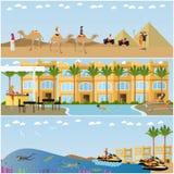 Tur till illustrationen för design för stil för lägenhet för Egypten begreppsvektor royaltyfri illustrationer
