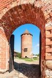 中世纪Turaida城堡废墟的片段在拉脱维亚 免版税库存照片