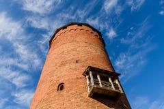 Turaida旅游胜地13世纪中世纪城堡塔  库存图片
