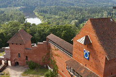 Turaida castle. Towers of Turaida castle built in 13th century and Gauja River. Sigulda, Latvia Stock Photos