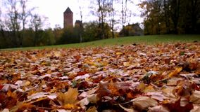 Turaida castle on springtime, Sigulda, Latvia. Flying around Ruins of Turaida castle on springtime, Sigulda, Latvia,Turaidas pils, Autumn leaves on the stock footage
