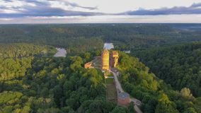 Turaida Castle at sunset, aerial view of Latvia Stock Photos