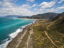Turakirae Head, New Zealand. New Zealand coastal region, the Turakirae head is also home to a scientific seal reserve and surfing beach location royalty free stock images