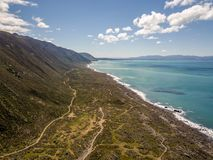 Turakirae Head, Scientific Reserve New Zealand. New Zealand coastal region, the Turakirae head is also home to a scientific seal reserve and surfing beach royalty free stock photography