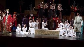 Turandot. DNIPRO, UKRAINE - JUNE 11, 2016: TURANDOT opera performed by members of the Dnipropetrovsk State Opera and Ballet Theatre stock video footage