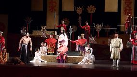 Turandot. DNIPRO, UKRAINE - JUNE 11, 2016: TURANDOT opera performed by members of the Dnipropetrovsk State Opera and Ballet Theatre stock video