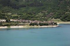 Turano lake, Colle di Tora city, near Rieti. View of Colle di Tora city, on Turano lake near Rieti in Lazio in Italy Royalty Free Stock Images
