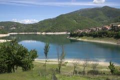 Turano lake, Colle di Tora city, near Rieti. View of Colle di Tora city, on Turano lake near Rieti in Lazio in Italy Royalty Free Stock Photo