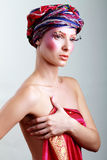 Turban and with artistic visage Stock Image