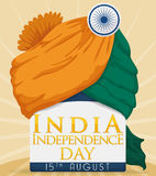 Turban with Greeting Message to Celebrate Independence Day of India, Vector Illustration Stock Images