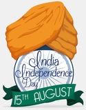 Turban over Ashoka Wheel with Reminder for India Independence Day, Vector Illustration Stock Photos
