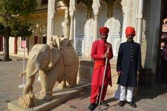 Turbaned guards and marble elephant Royalty Free Stock Photos
