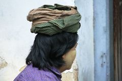 Turbans are the costumes of the women of Burma. stock image