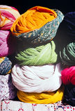 Indian Turbans. Turbans of many colors for sale at the market in India Royalty Free Stock Image