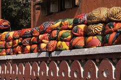 Turbans For Sale. Row of colourful turbans on wall. Jaipur, Rajasthan, India Royalty Free Stock Images