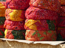 Turbans on a souvenir stall. Tourists can buy these ready-wrapped turbans, typical of the traditional dress in Jaisalmer, Rajasthan Royalty Free Stock Image