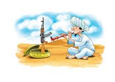 Turbanu kałasznikowu kosza pustyni wschód royalty ilustracja