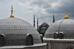 Turbe Tomb Domes And Sultanahmet Mosque, Istanbul, Turkey Royalty Free Stock Image