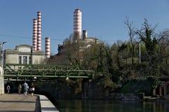 Turbigo, Μιλάνο, Λομβαρδία, Ιταλία 24 Μαρτίου 2019 Σταθμός παραγωγής ηλεκτρικού ρεύματος Turbigo, που βρίσκεται κατά μήκος του Na στοκ εικόνες