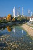 Turbigo Milan: chimneys and canal. Turbigo Milan, Lombardy, Italy: industrial chimneys along the Naviglio Grande royalty free stock photos