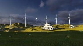 turbina śródpolny zielony wiatr zdjęcie stock