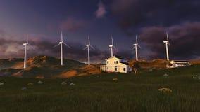 turbina śródpolny zielony wiatr zdjęcia stock