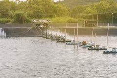 Turbina de la aireación del agua en el cultivo acuático Fotografía de archivo libre de regalías