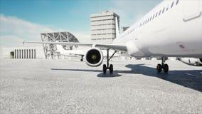 Turbina de los aviones Animaciones planas de la turbina concepto del recorrido ilustración del vector