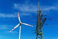 Turbina de vento de uma planta das energias eólicas para a eletricidade Imagens de Stock