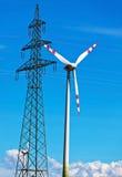Turbina de vento de uma planta das energias eólicas para a eletricidade Fotografia de Stock Royalty Free