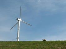 Turbina de vento em um prado imagens de stock