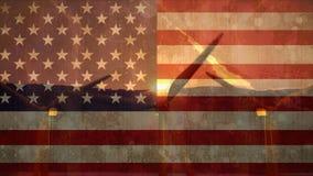 Turbina de viento contra bandera americana