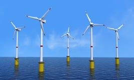 Turbina de viento costa afuera Imagen de archivo libre de regalías