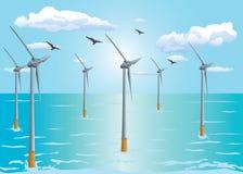 Turbina de viento costero flotante Foto de archivo libre de regalías