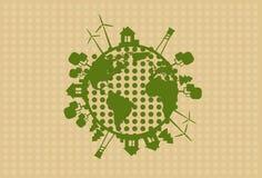 Turbina de viento de la silueta del globo de la tierra verde Foto de archivo