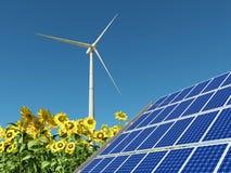 Turbina de viento, el panel solar y girasoles Fotografía de archivo