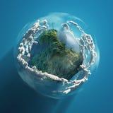 Turbina de viento en el planeta verde stock de ilustración